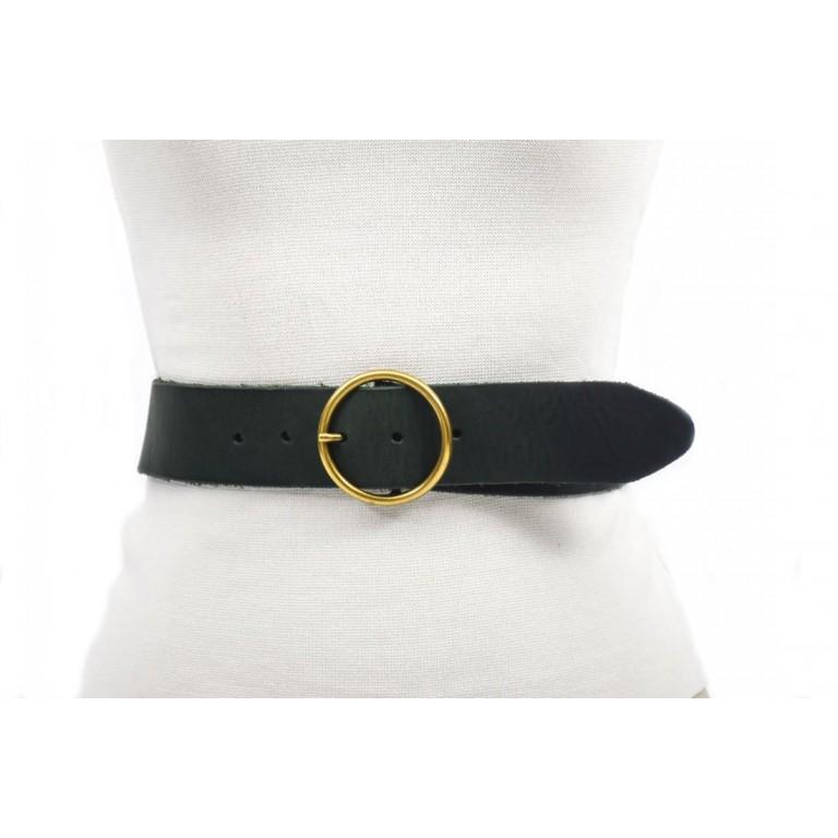 cinturón negro 4.5cm piel cuero vacuno hebilla oro