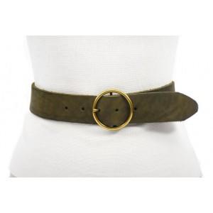 cinturón verde 4.5cm envejecido handmade barcelona hebilla doble paso oro viejo