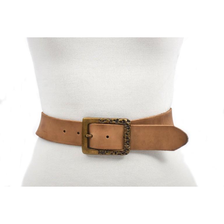 cinturón marrón claro 4cm hebilla oro viejo handmade barcelona