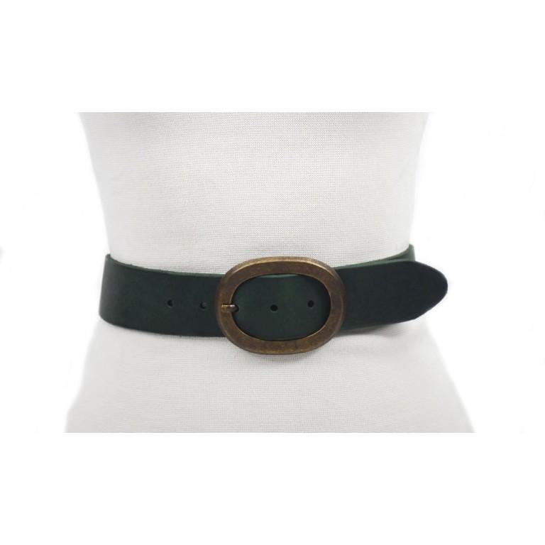cinturón verde oscuro 4cm hebilla oro viejo piel vacuna curtimiento vegetal