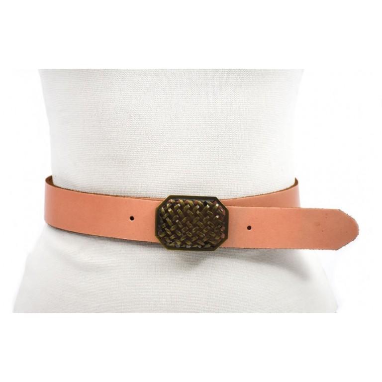 cinturon rosa 4cm chapon grabado color oro viejo