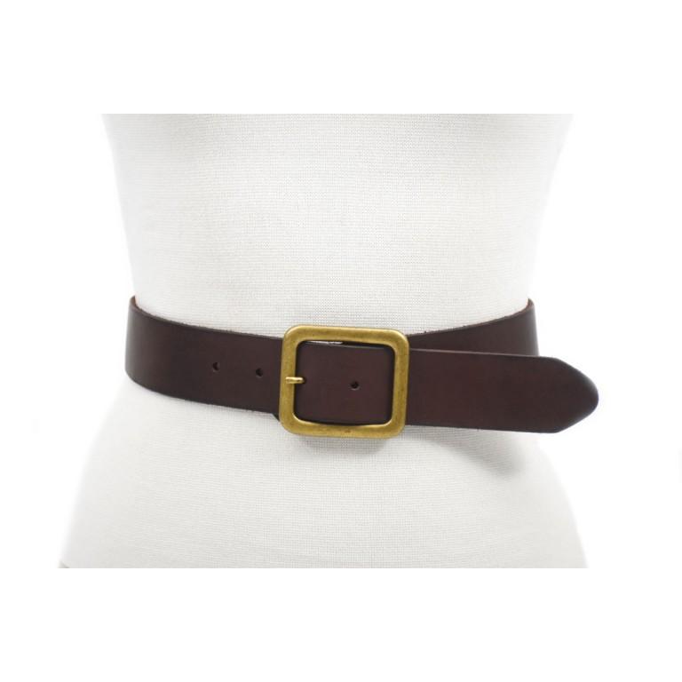 cinturón 4cm piel cuero marrón oscuro hebilla oro viejo