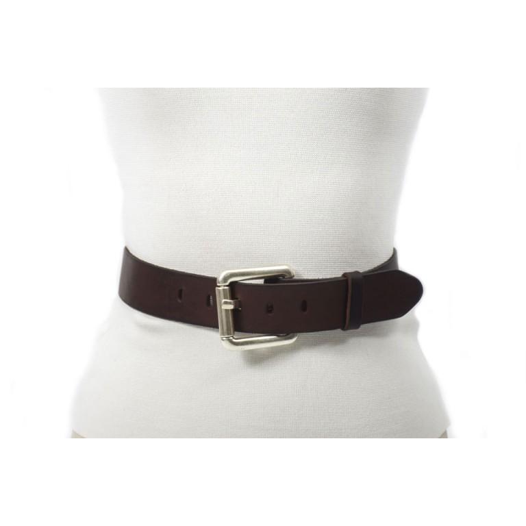 cinturón de piel marrón oscuro 4cm unisex handmade barcelona