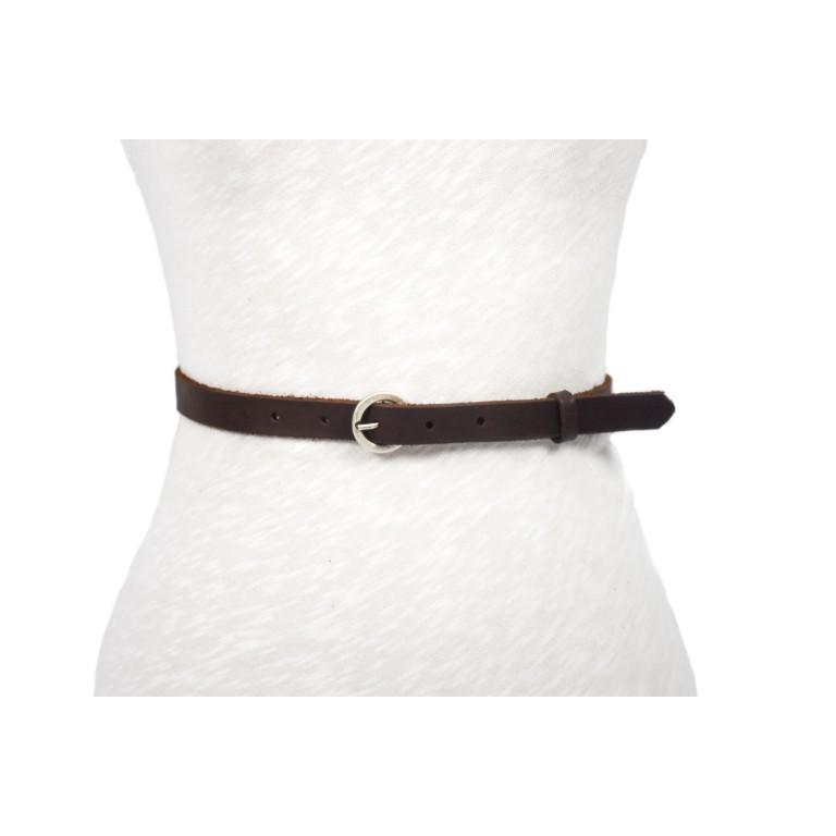 cinturón de piel marrón acabado rústico hebilla plata vieja