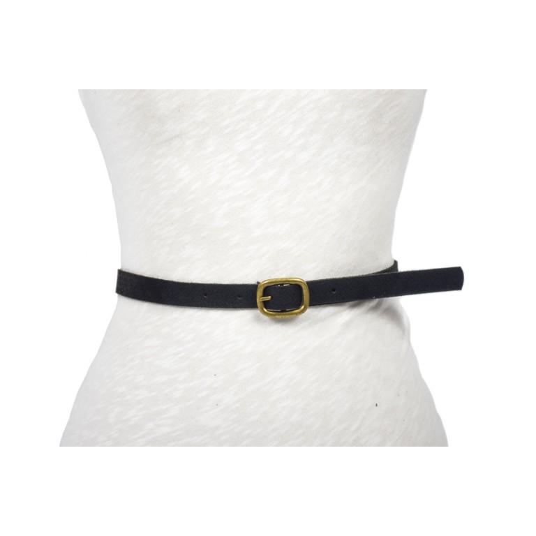 cinturón de piel negro grabado flor de barcelona