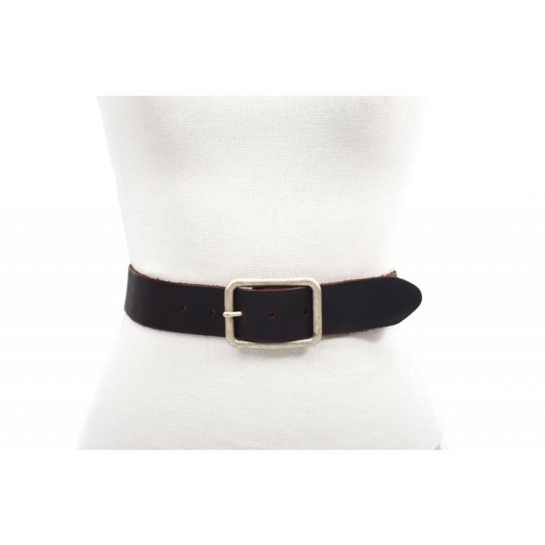 cinturon de piel negro y rojo hebilla plata vieja