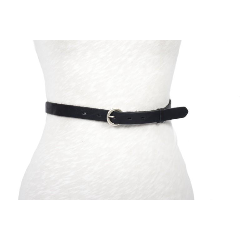 cinturón piel negro 2cm acabado rústico hebilla circular plata mate