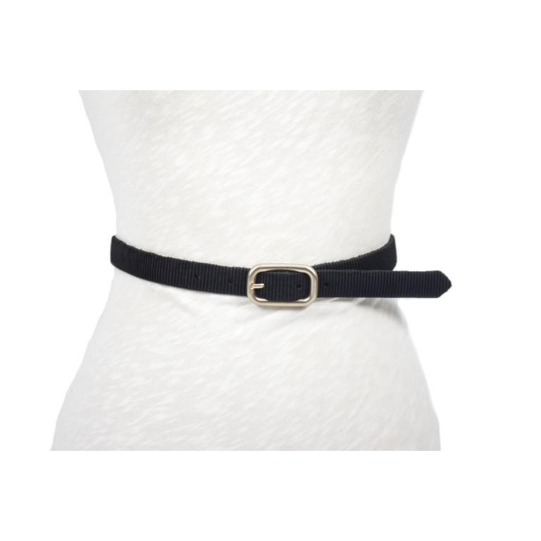 cinturón negro handmade barcelona hebilla plata mate doble paso
