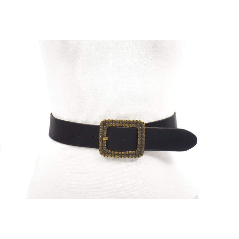 cinturón de piel negro hebilla doble paso oro viejo grabada circulos 4cm handmade in barcelona unisex cuero vacuno