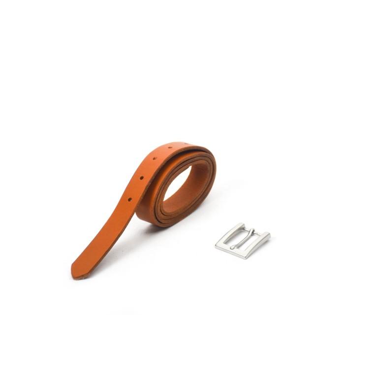 cinturón de piel camel hebilla níquel mate