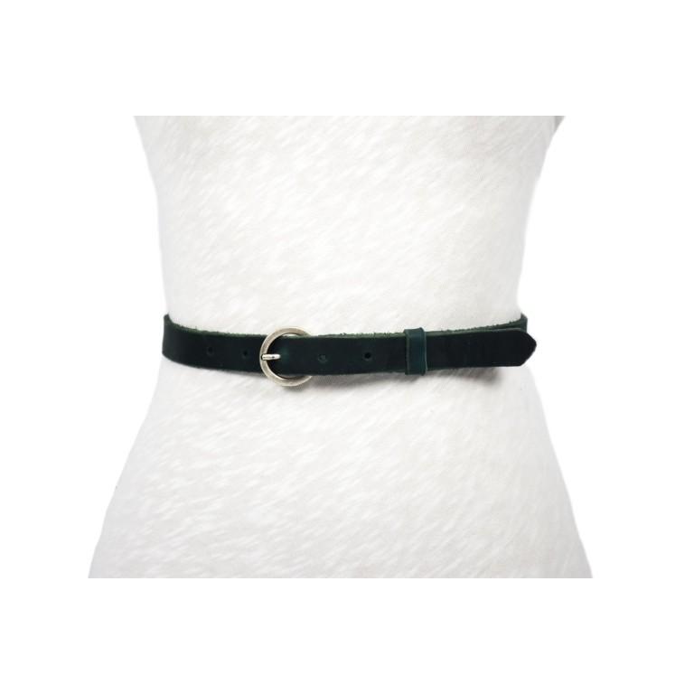 cinturón 2cm negro rústico hebilla circulo plata mate envejecida