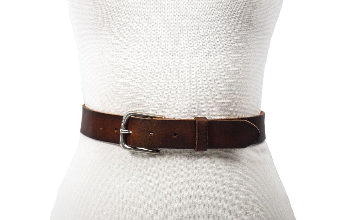 cinturón marrón cuero vacuno hebilla niquel