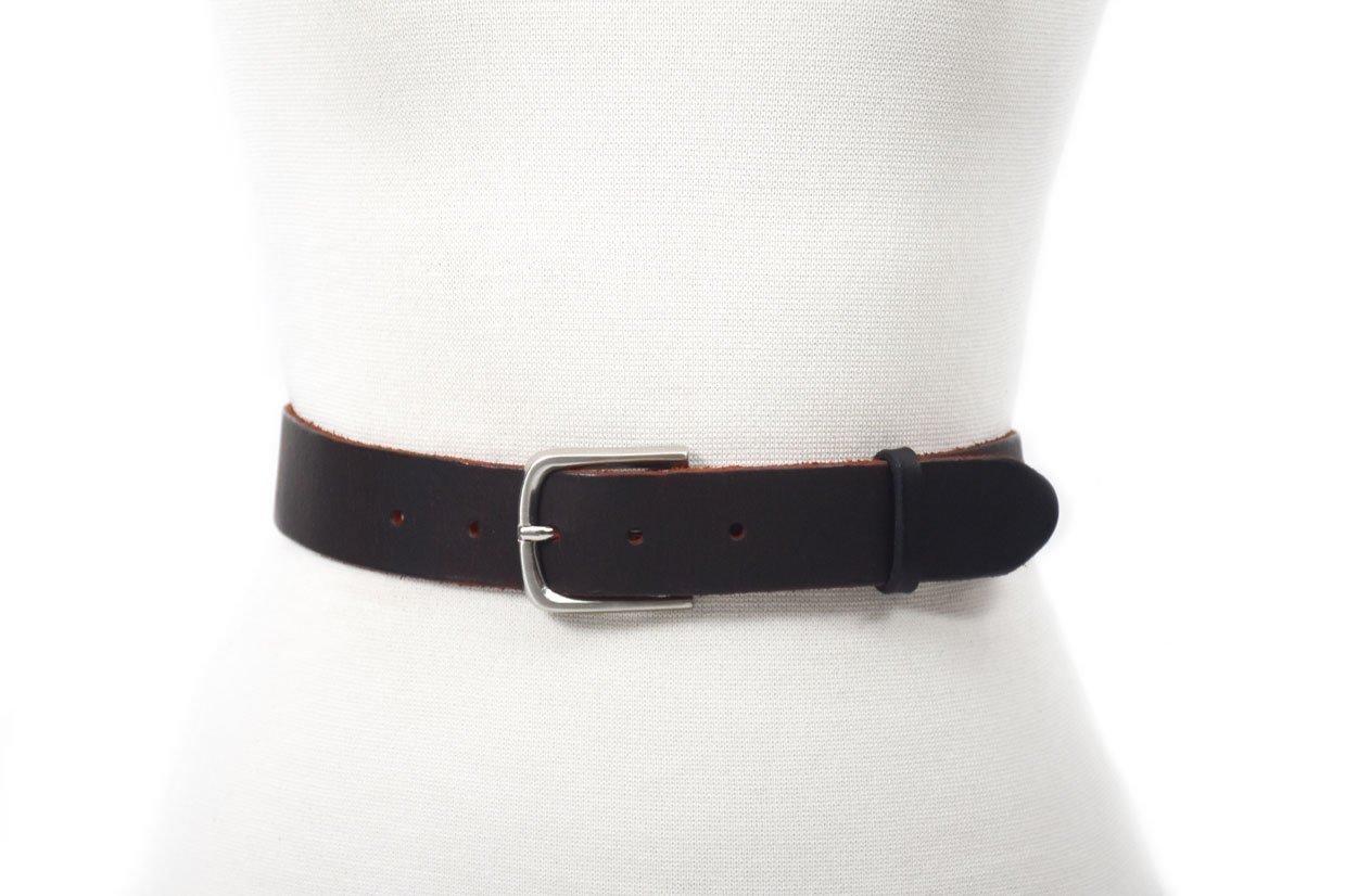 cinturon de piel duo tono negro y rojo unisex
