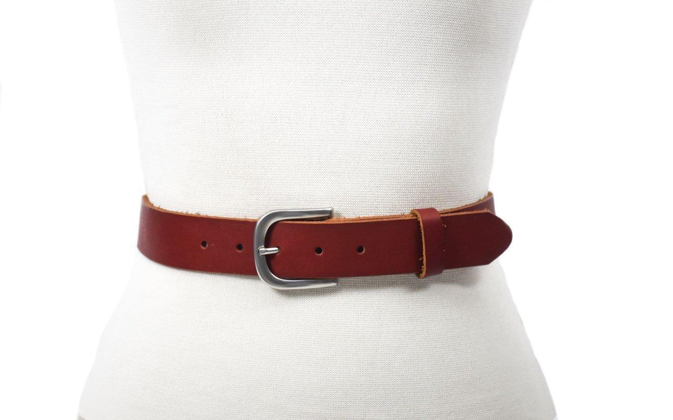 cinturón marrón hebilla plata mate