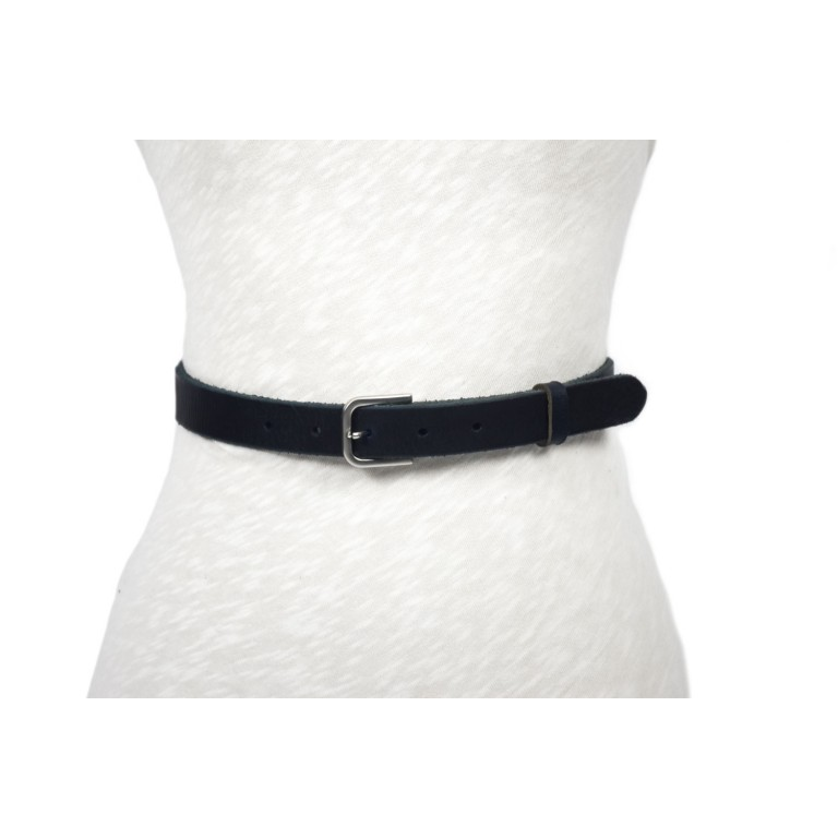 cinturón negro tira rústica hebilla níquel mate
