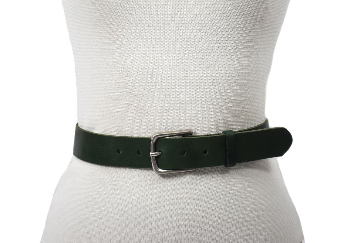 cinturón 4cm verde oscuro leather piel cuero natural