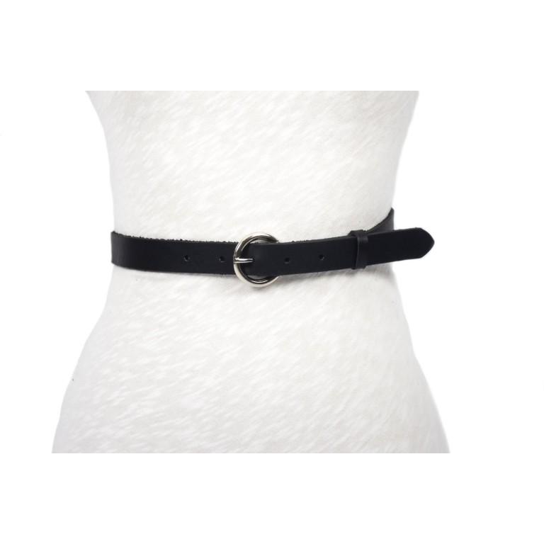 cinturón negro unisex hebilla circulo níquel