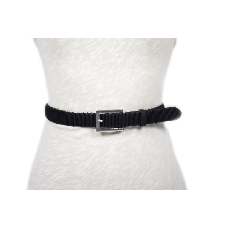 cinturón negro rústico grabado rayado hebilla níquel mate