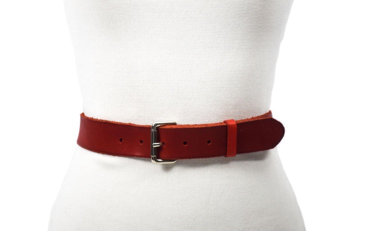 belt cinturón rojo handmade hebilla niquel
