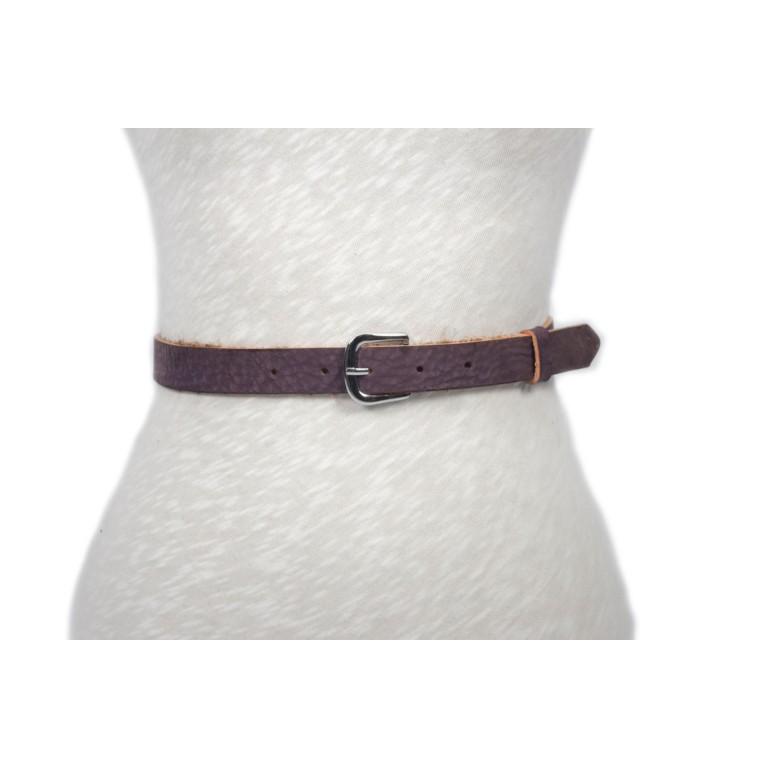 cinturón violeta acabado rústico hebilla níquel 2.5cm