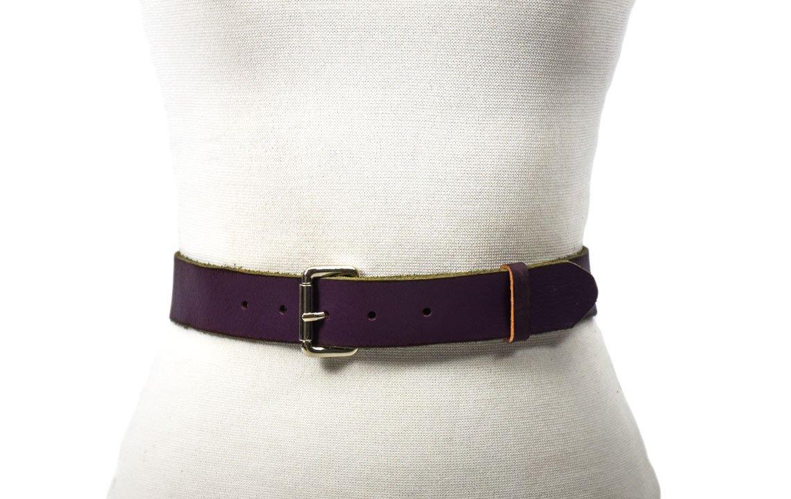 cinturón de piel violeta rustico desgastado unisex belt barcelona gotic atelier