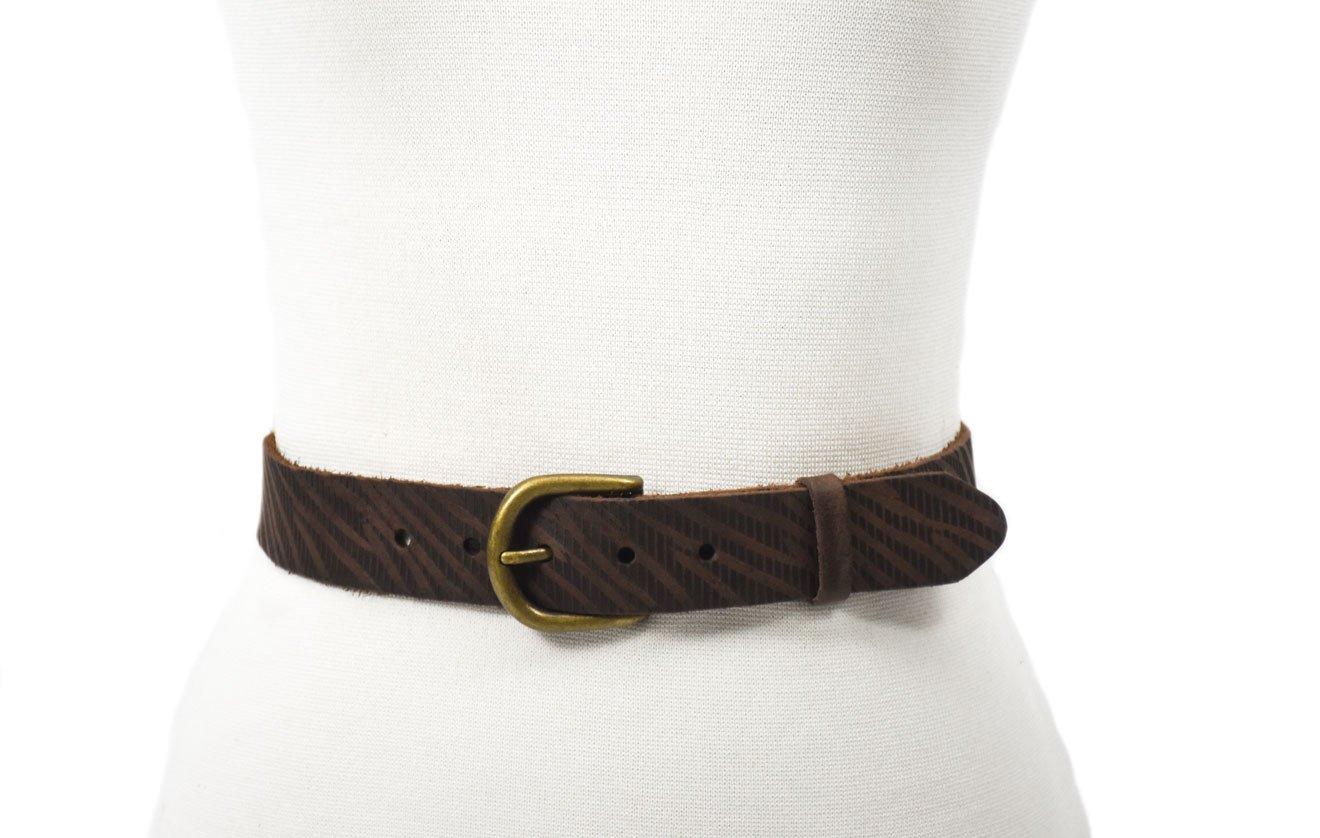 piel cuero cinturón cuero marrón grabado hebilla oro viejo