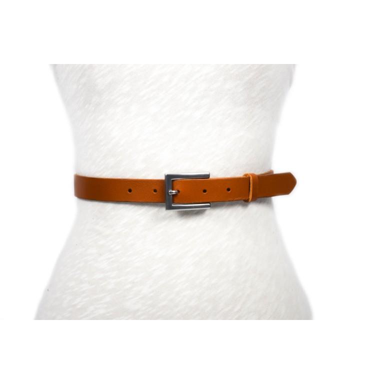 cinturón de piel camel hebilla plata mate