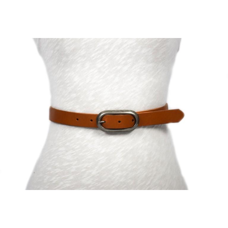 cinturón de piel camel con hebilla doble paso níquel envejecido