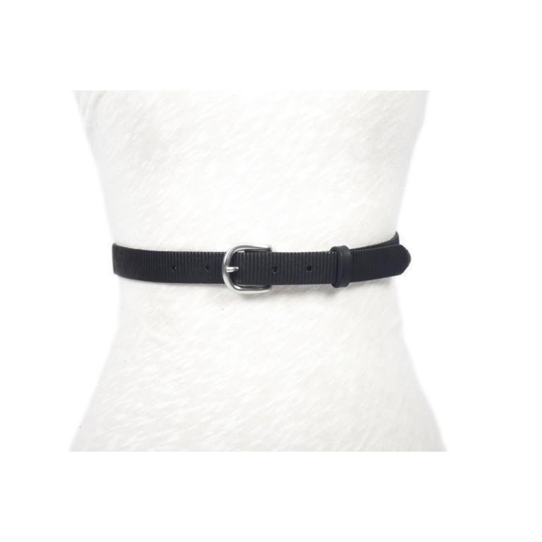 cinturón de piel negro tira grabada rayada hebilla níquel mate