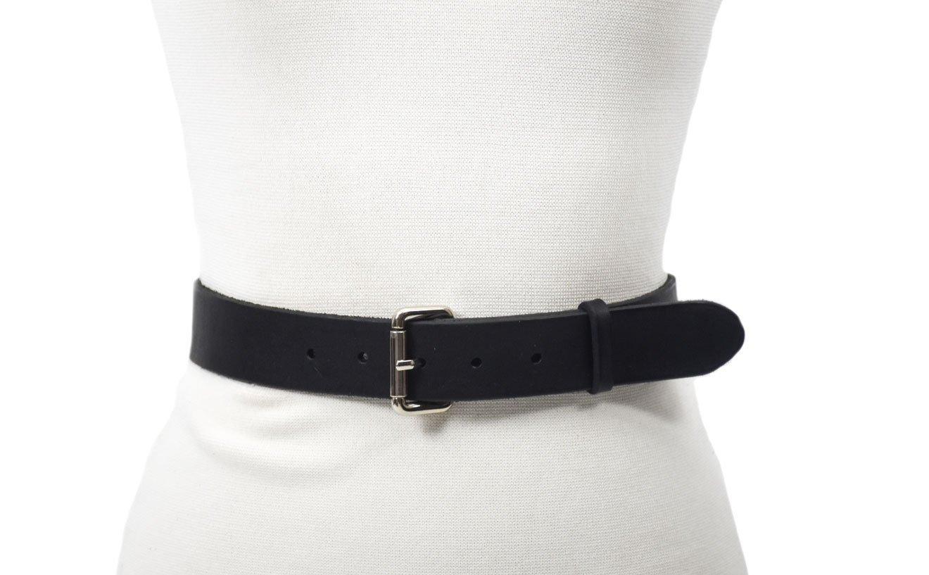 cinturón de piel marrón hebilla níquel unisex