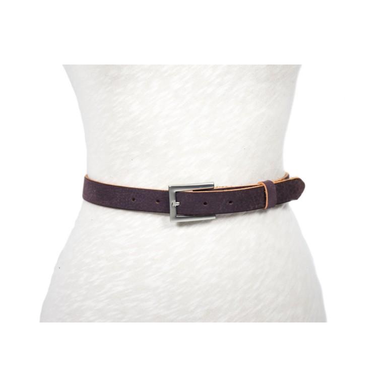 cinturón de piel violeta envejecido hebilla plata mate