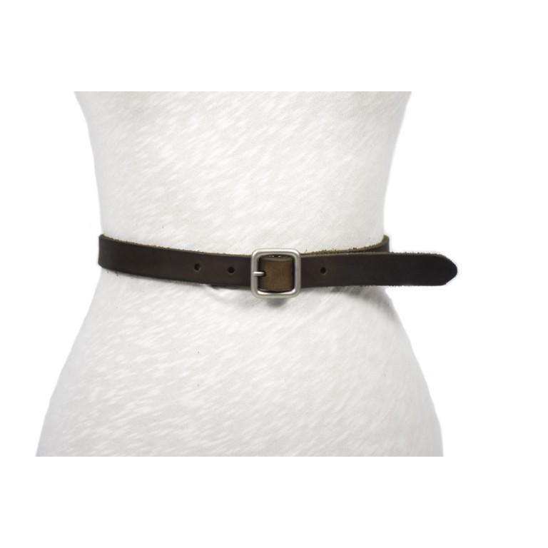 cinturón de piel gris rústico hebilla doble paso plata mate