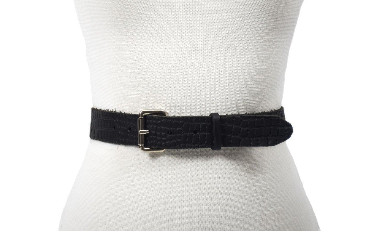 cinturón de piel vegetal grabado imitación de cocodrilo unisex