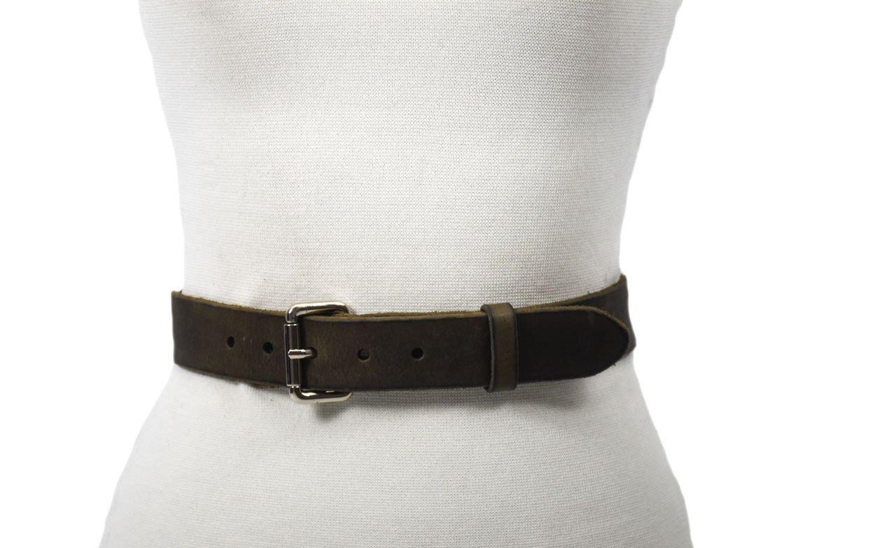cinturón verde gris acabado rustico hebilla níquel