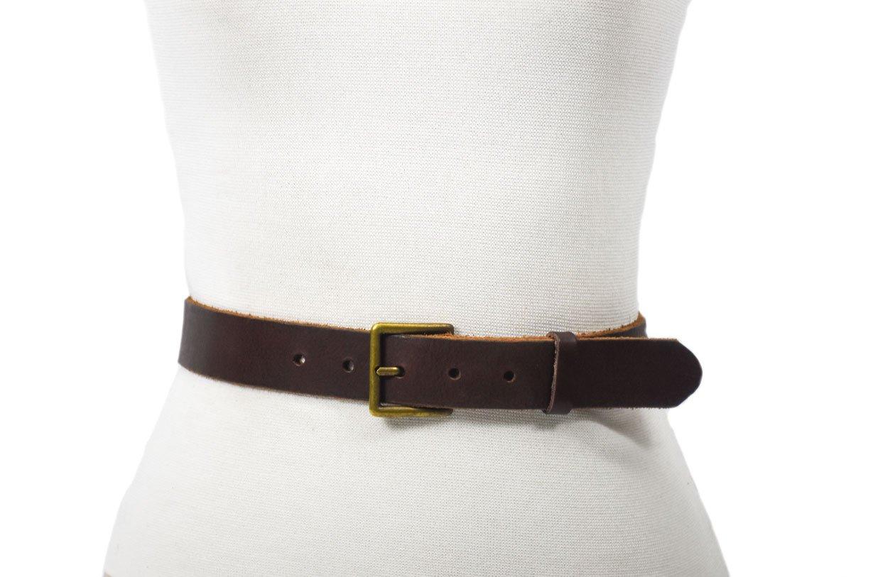cinturón piel cuero marrón rústico hebilla oro viejo
