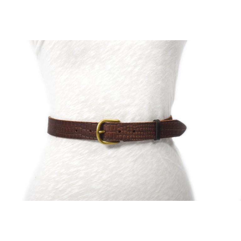 cinturón de piel marrón oscuro grabado cocodrilo 2.5cm handmade in barcelona unisex cuero vacuno