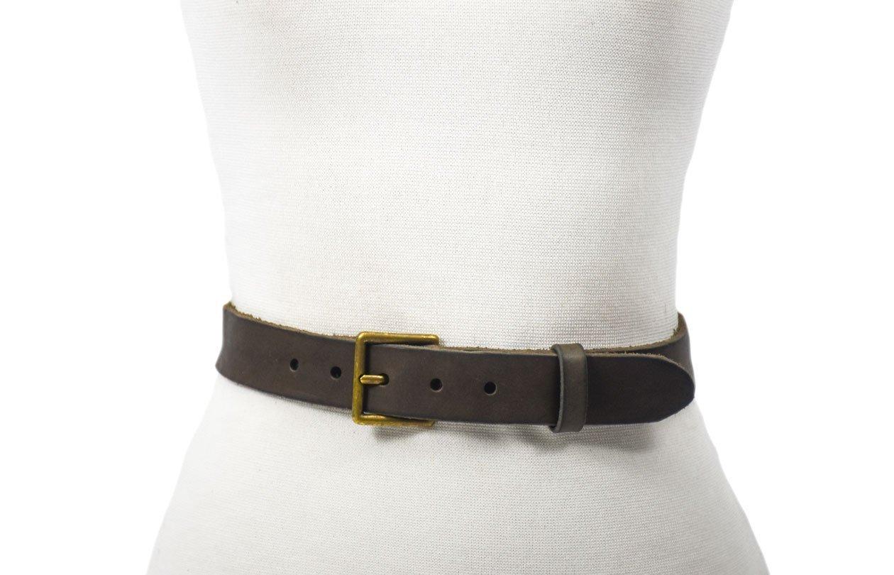 tira de piel cinturón gris envejecido hebilla oro viejo