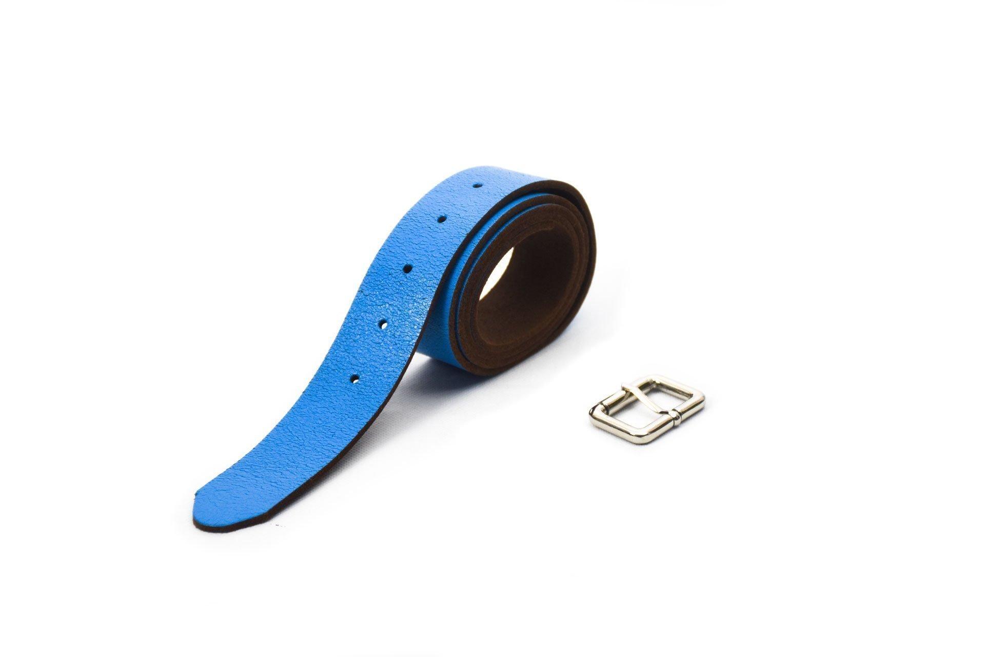 cinturón de piel azul acabado envejecido con hebilla níquel