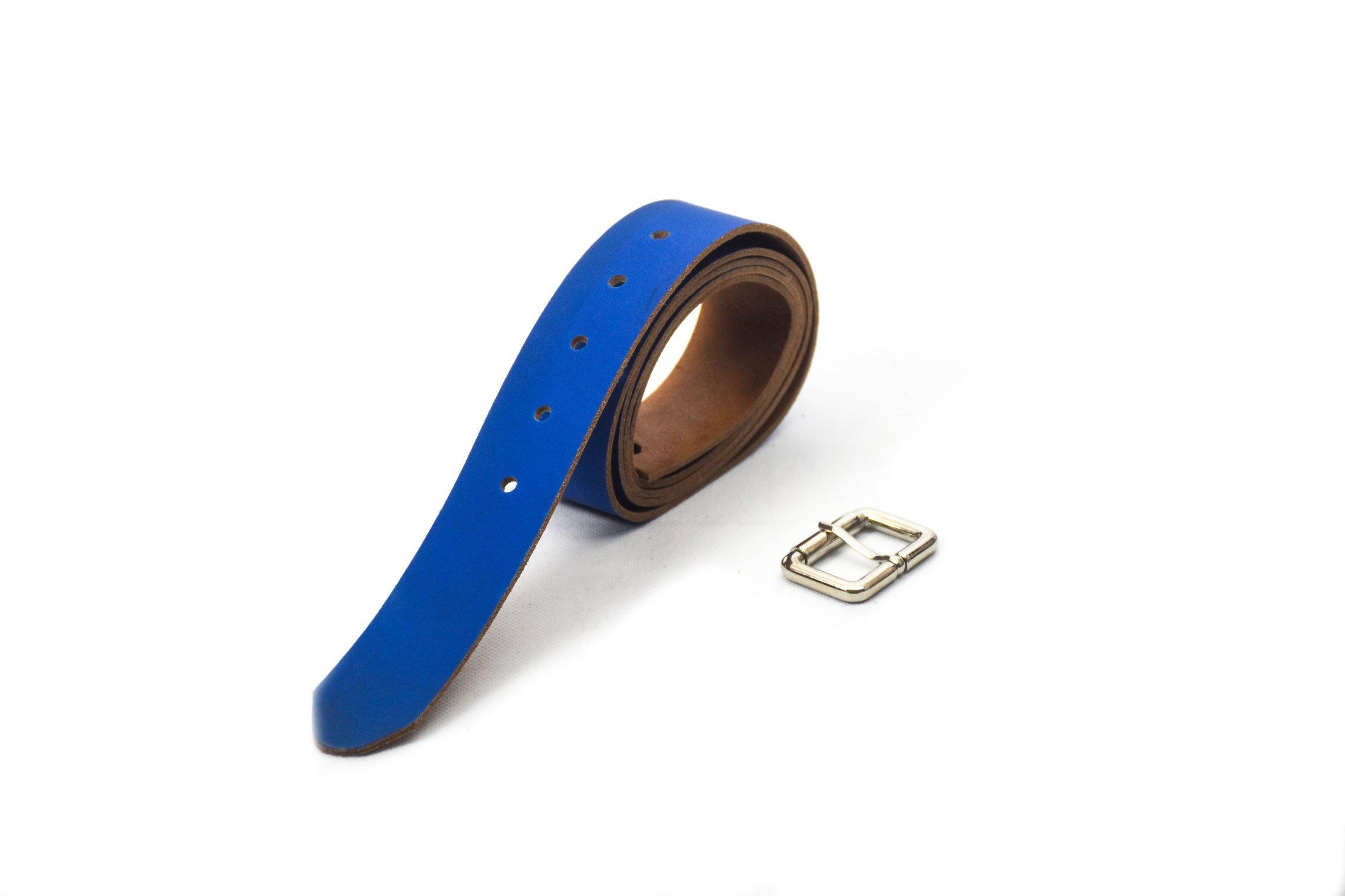 cinturón de piel vacuna azul claro con hebilla color níquel barcelona
