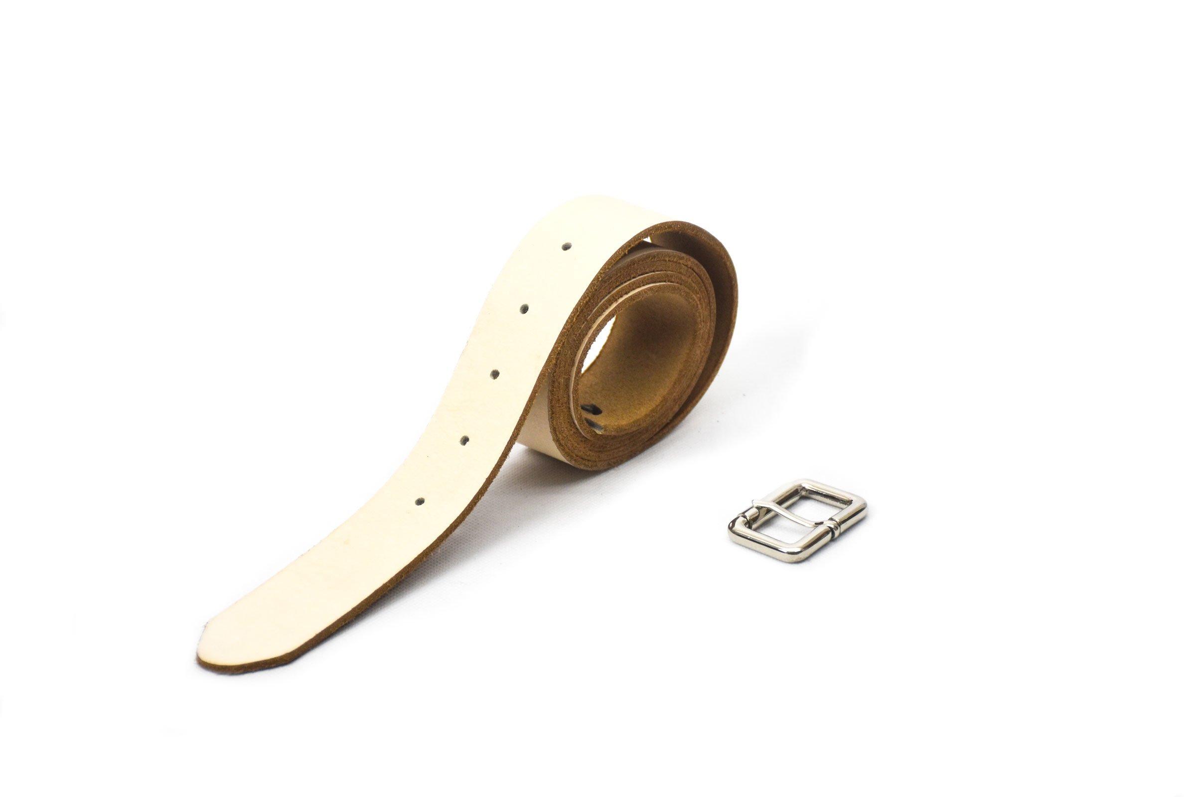 cinturón color crema 3.5cm ancho hebilla níquel