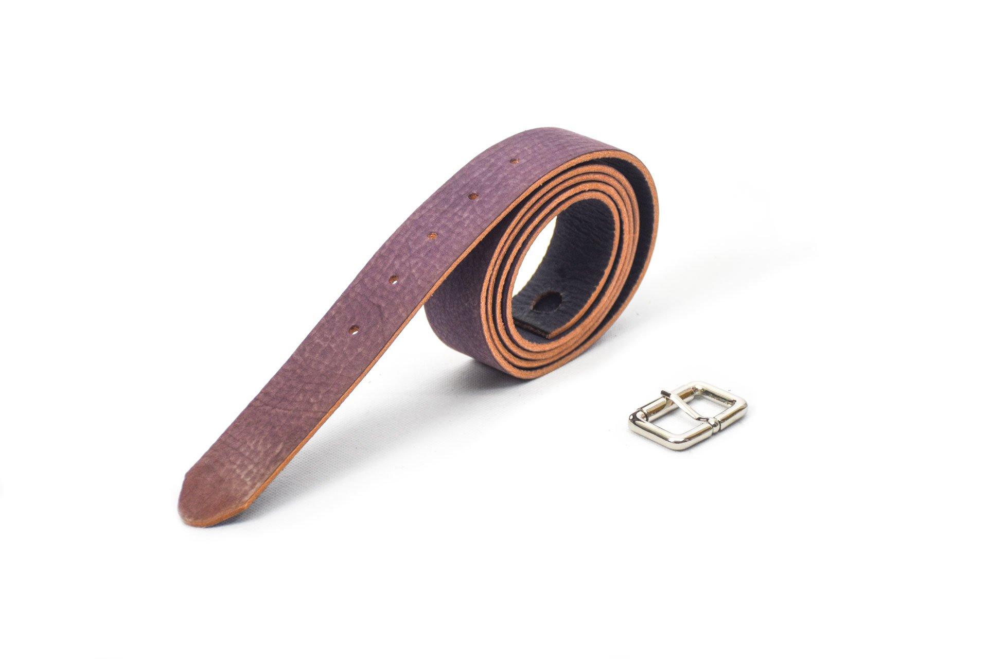cinturón de piel violeta handmade women 3.5cm