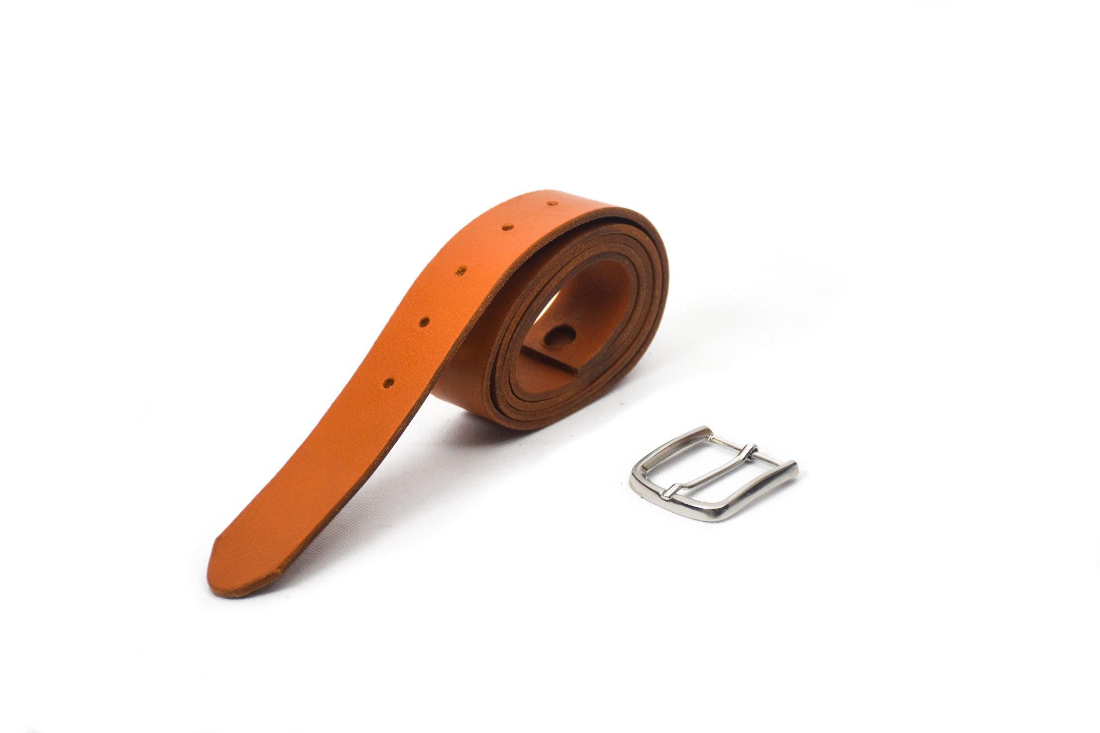 cinturón de piel vacuno con hebilla níquel camel handmade barcelona