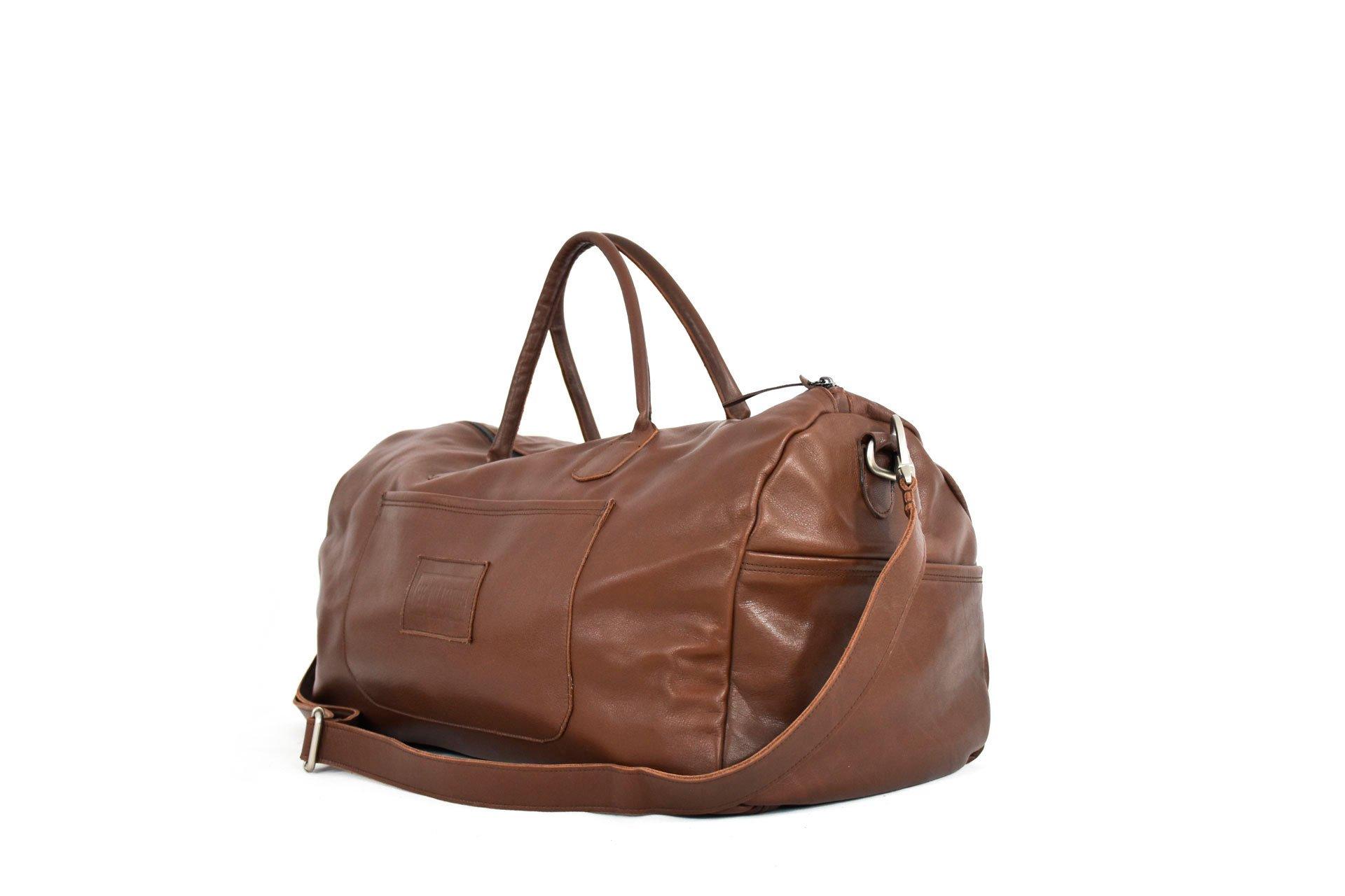 tucuman bolsa viaje marrón oscuro hombre mujer piel cuero real handmade barcelona gotic workshop