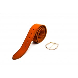 cintuón piel cuero vegetal marrón 4.5cm hebilla níquel