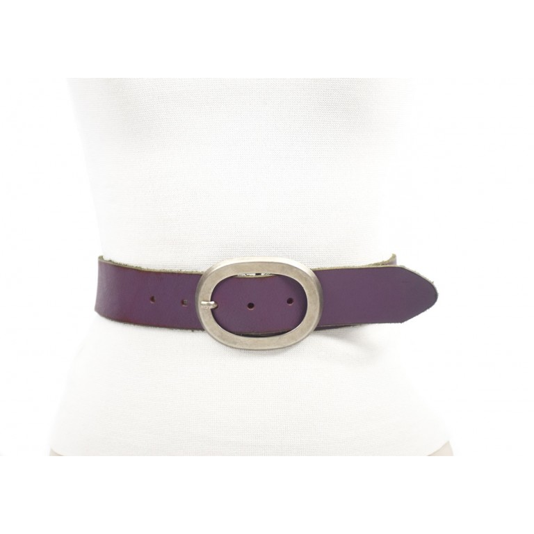 cinturon violeta mujer 4cm acabado envejecido handmade barcelona
