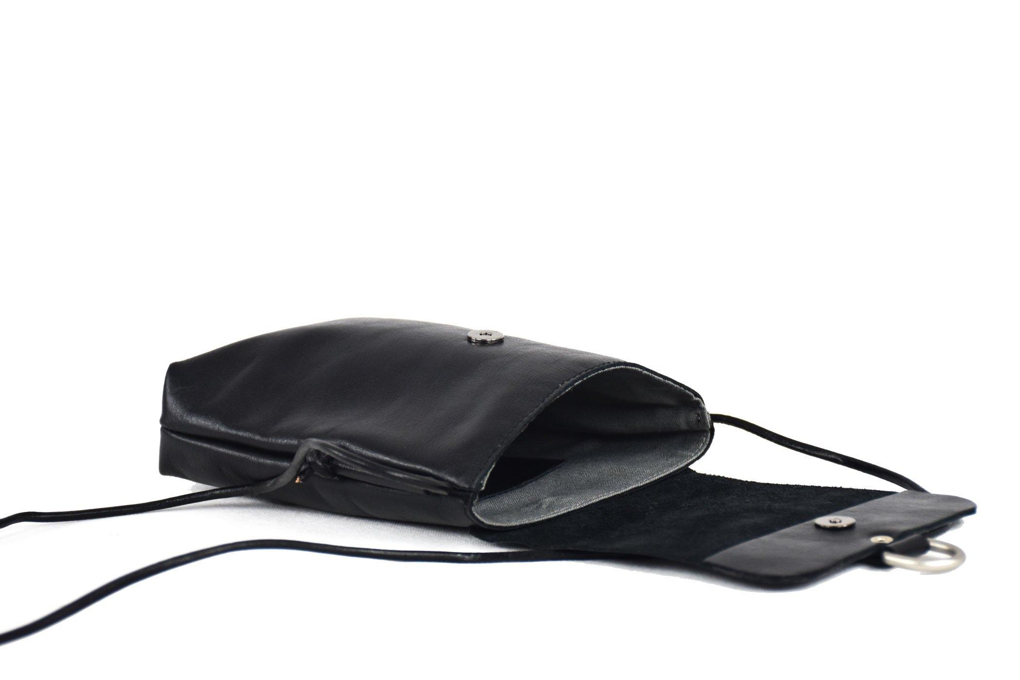 mola bandolera pequeña negra piel unisex ajustable handmade barcelona