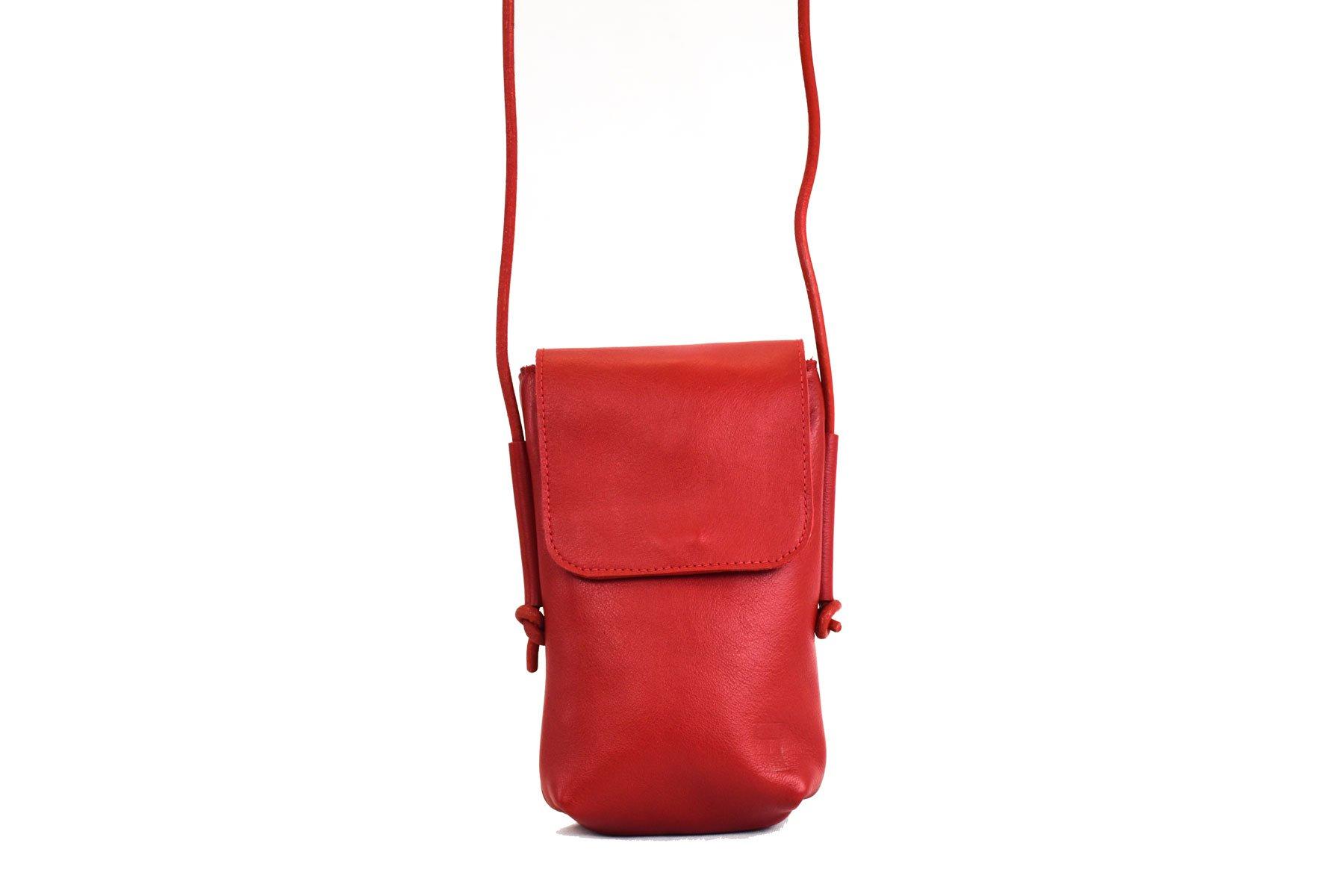 mola bandolera pequeña roja piel unisex ajustable handmade barcelona