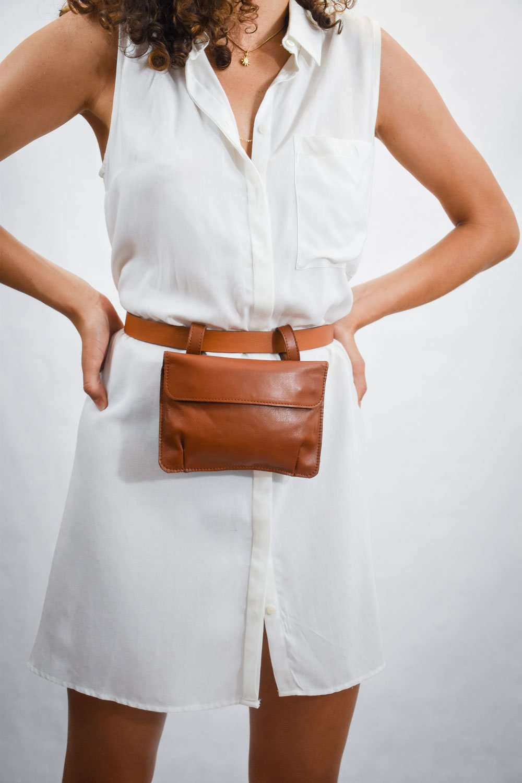 riñonera salta marrón oscuro ajustable cinturón