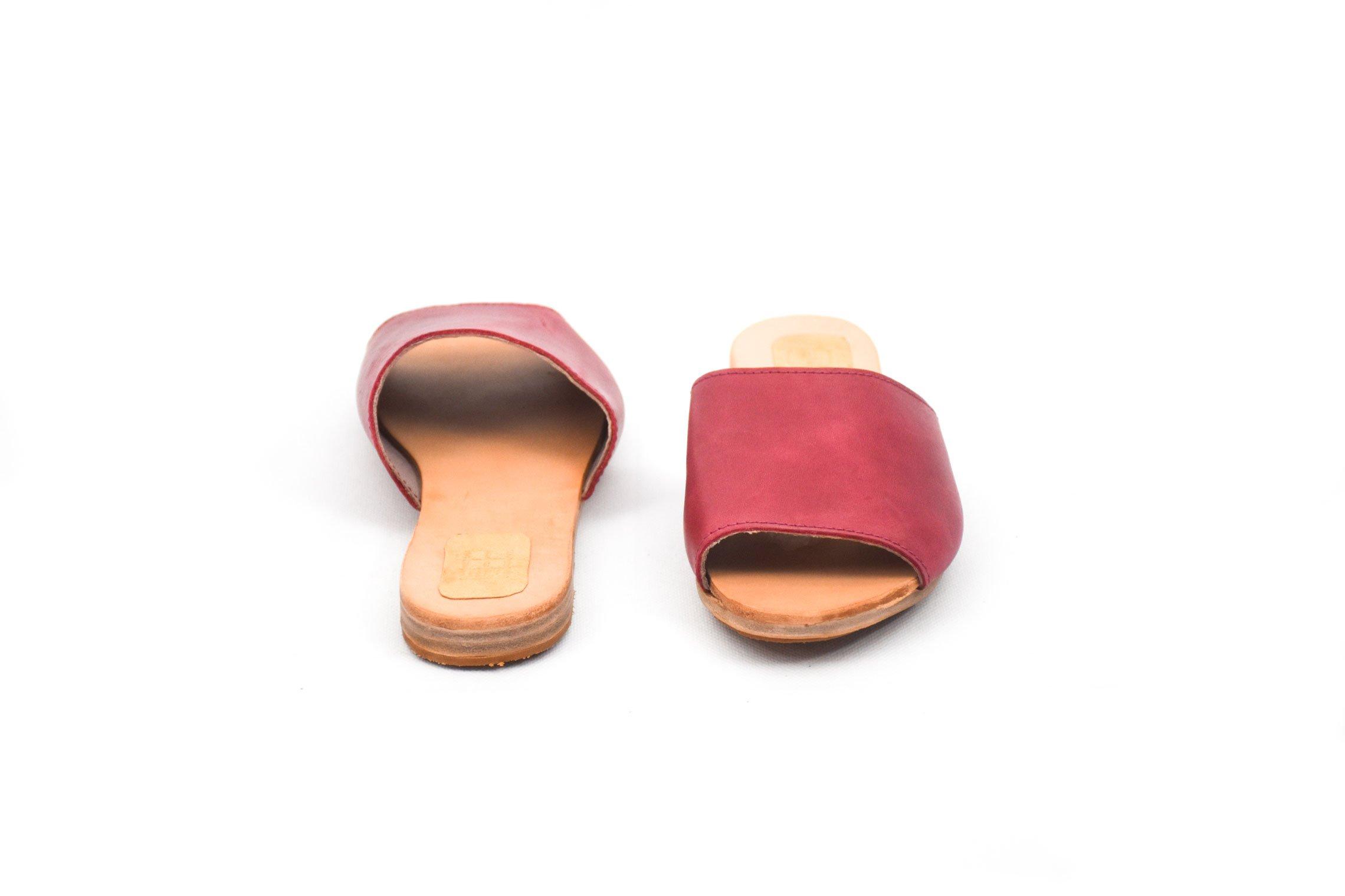 sandalia plana mujer piel cuero morado rosado handmade