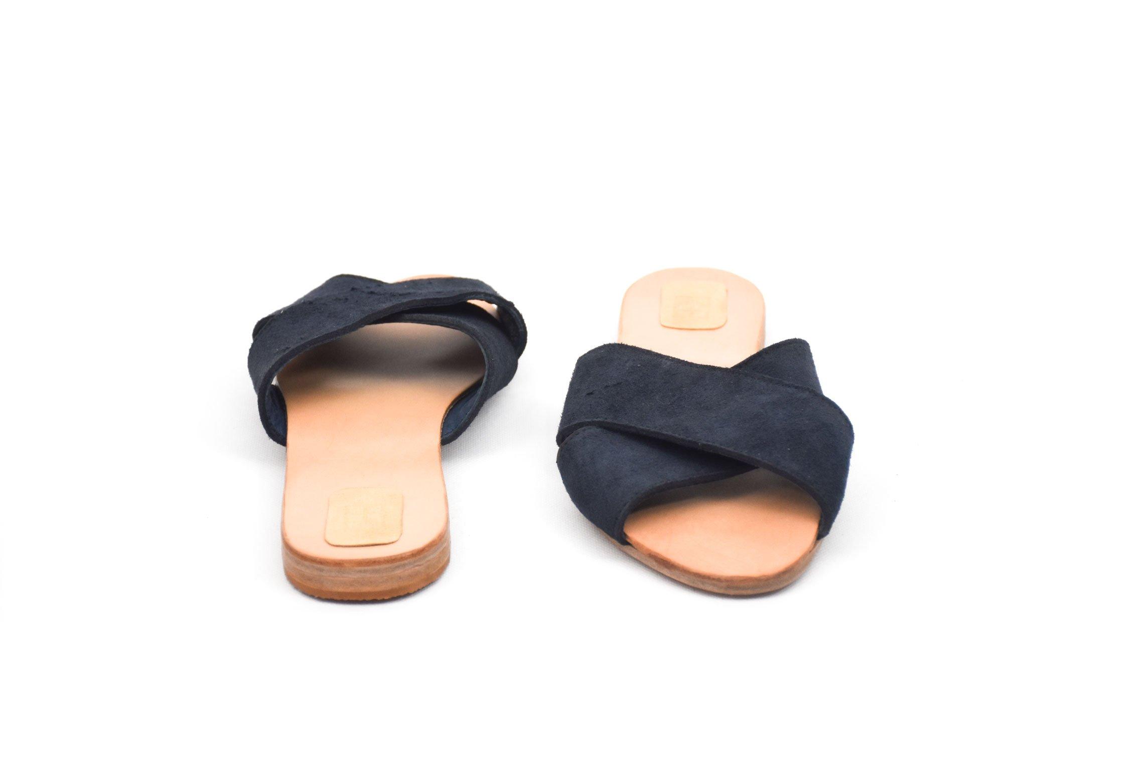 sandalia cuero piel forrada azul ante dark blue